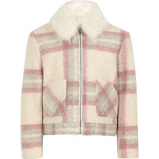 Girls pink check faux fur trim jacket