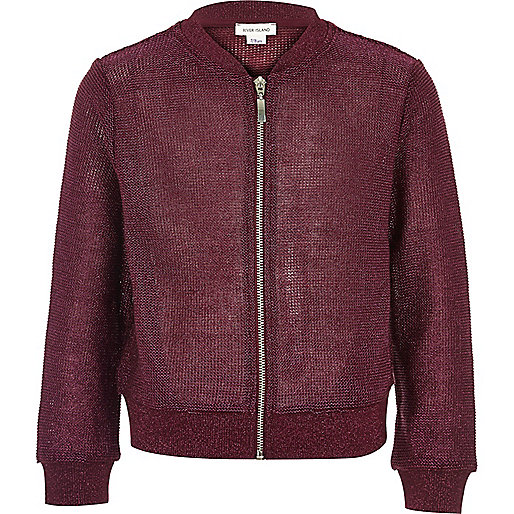 Girls burgundy metallic knit bomber jacket