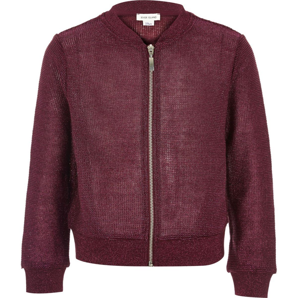 Girls burgundy metallic knit bomber jacket