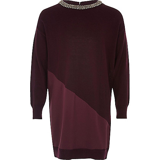 Verziertes Pulloverkleid in Bordeaux