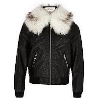 Girls black faux fur collar bomber jacket