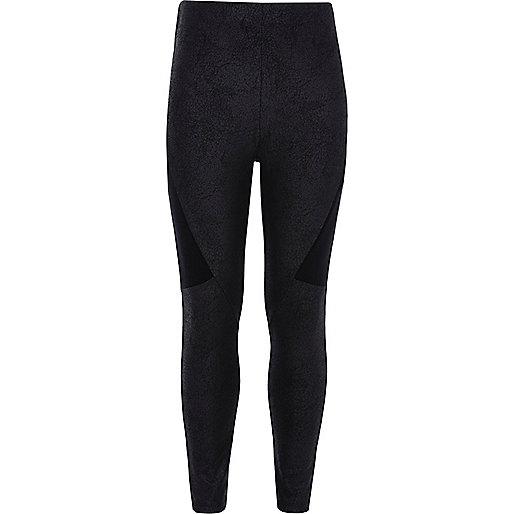 Girls black splice panel leggings