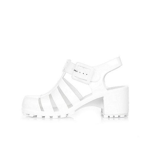 Sandales en plastique blanches à talons pour fille
