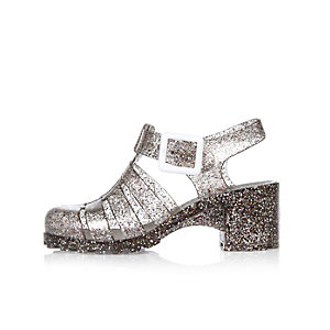 Girls silver heeled jelly sandals