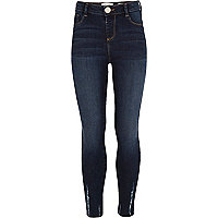 Girls dark high waisted chewed hem jeggings