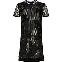 Girls khaki camo mesh T-shirt dress