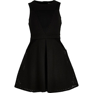 Girls black laser cut mesh dress