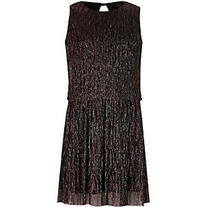Girls metallic purple layer pleated dress