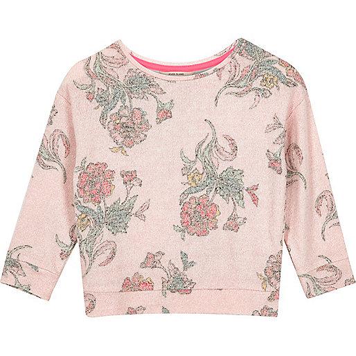 Mini girls pink brushed floral sweatshirt