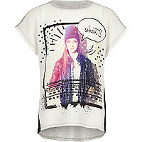 Girls white colour block print t-shirt