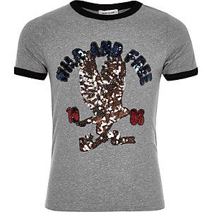 Girls grey retro wild sequin print T-shirt