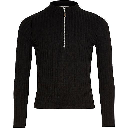 Top noir côtelé zippé pour fille