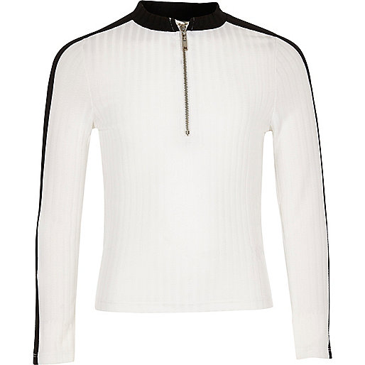 Girls white ribbed zip top