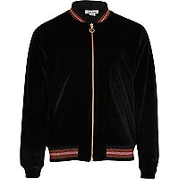 Girls black velvet lurex hem bomber jacket