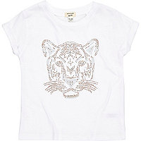 Mini girls white studded tiger t-shirt