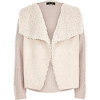 Girls cream knit fleece lined cardigan