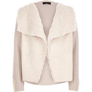 Girls cream knit borg lined cardigan