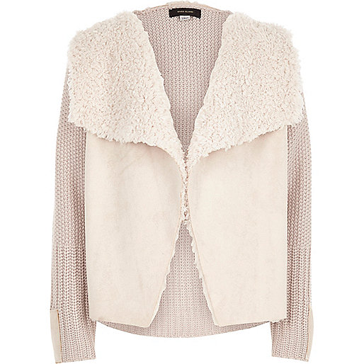 Girls cream knit borg lined cardigan
