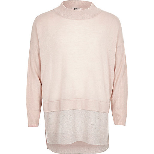 Girls pink knit high neck sparkly hem jumper