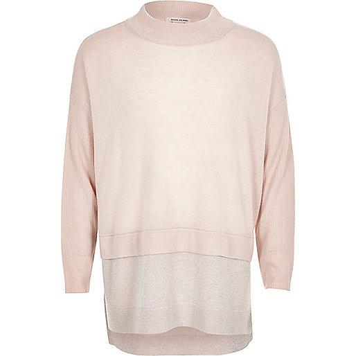 Girls pink knit high neck sparkly hem sweater