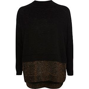 Zwarte gebreide pullover met glitterstrook voor meisjes