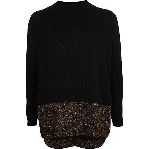 Girls black knit sparkly hem jumper