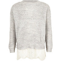 Girls grey pearl embellished lace hem sweater