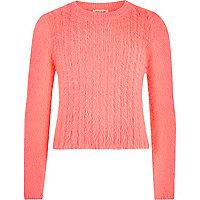 Girls coral fluffy knit jumper