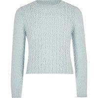 Girls light blue fluffy knit sweater