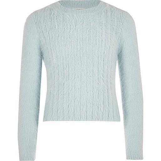 Pull en maille duveteuse bleu clair pour fille