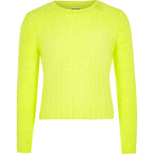 Girls fluro yellow fluffy knit jumper