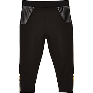 Legging noir avec poches en cuir synthétique mini fille