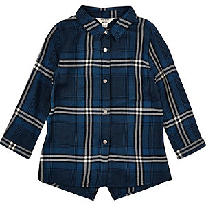 Mini girls blue check longline shirt