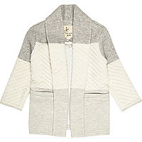Mini girls grey quilted jacket