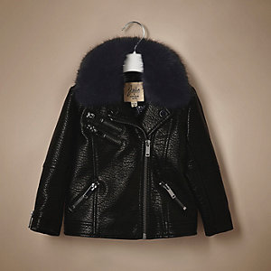 Unisex baby black faux leather biker jacket