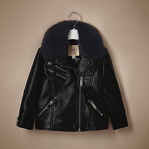 Unisex baby black faux leather biker jacket