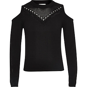 Girls black pointelle cold shoulder sweater