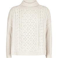 Girls cream pearl knit turtleneck jumper