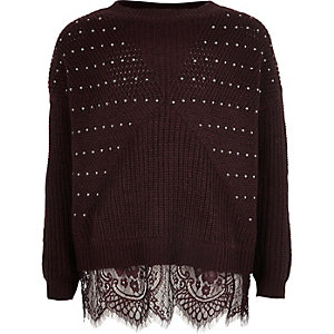 Girls burgundy embellished knit lace sweater
