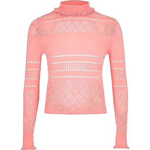 Girls pink pointelle ruffle turtleneck jumper