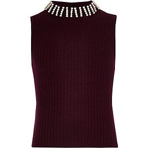 Girls burgundy sleeveless knit top