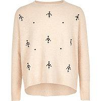 Girls cream embellished knit Christmas sweater