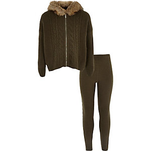 Girls khaki green cable knit cardigan set