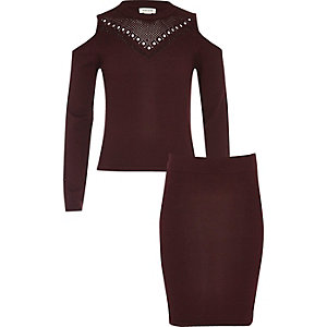Girls burgundy pointelle knit top and skirt