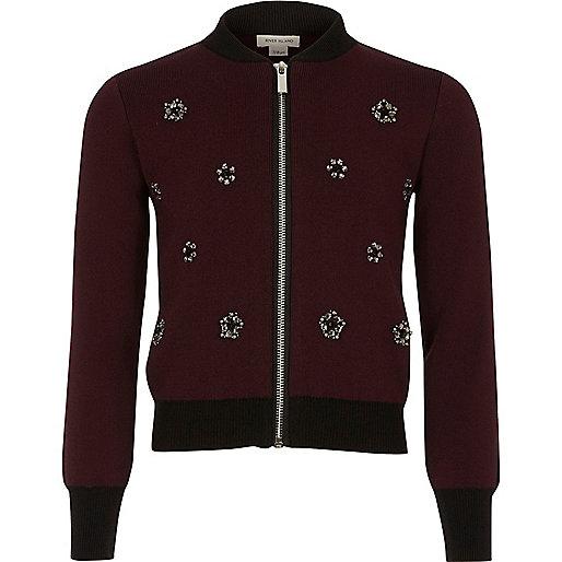 Girls burgundy embellished knit bomber jacket