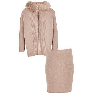 Girls pink metallic knit hoodie and skirt