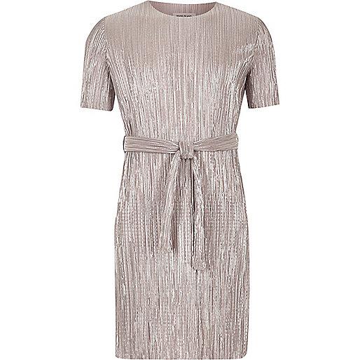 Girls silver pleated dress