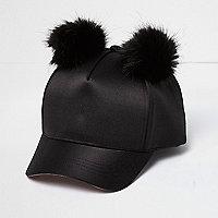 Girls black satin pom pom cap