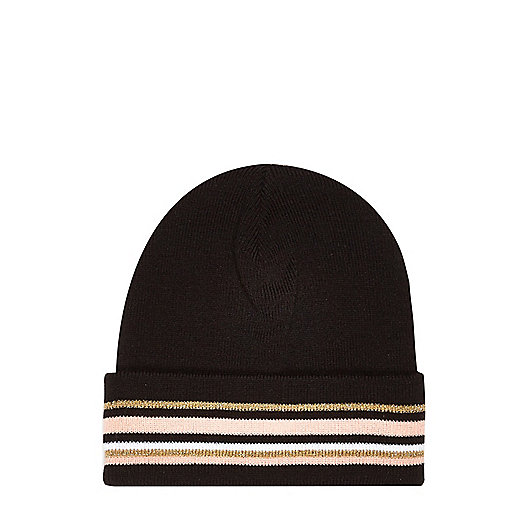 Girls black stripe beanie