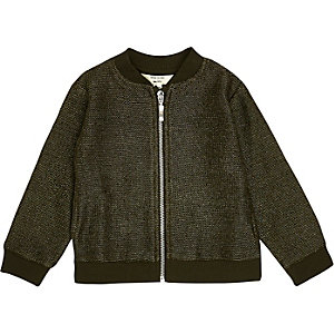 Mini girls khaki lurex knit bomber